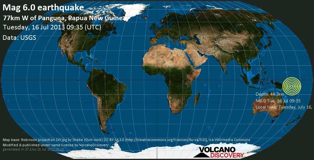 Strong mag. 6.0 earthquake  - 77km W of Panguna, Papua New Guinea on Tuesday, 16 July 2013