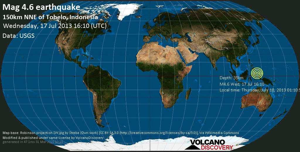 Light mag. 4.6 earthquake  - 150km NNE of Tobelo, Indonesia on Wednesday, 17 July 2013