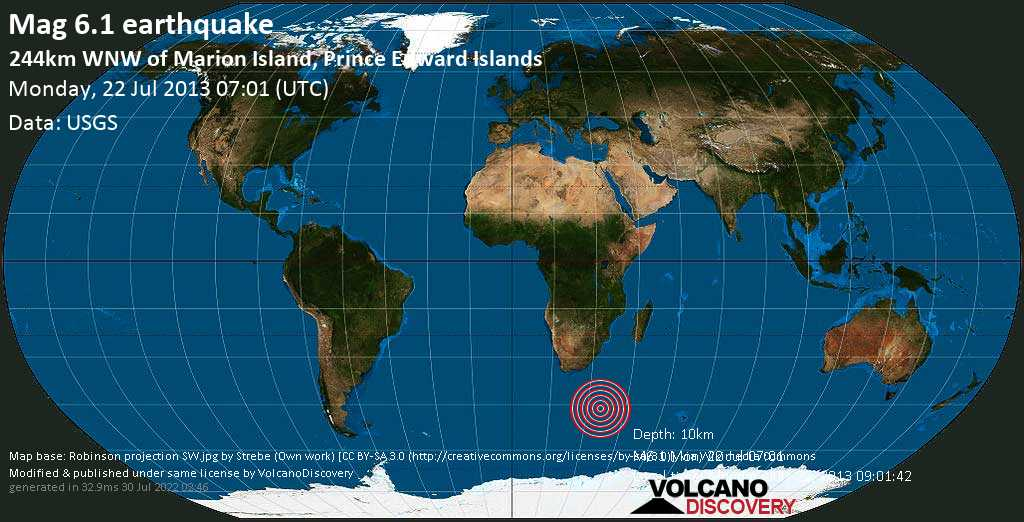 Strong mag. 6.1 earthquake  - 244km WNW of Marion Island, Prince Edward Islands on Monday, 22 July 2013
