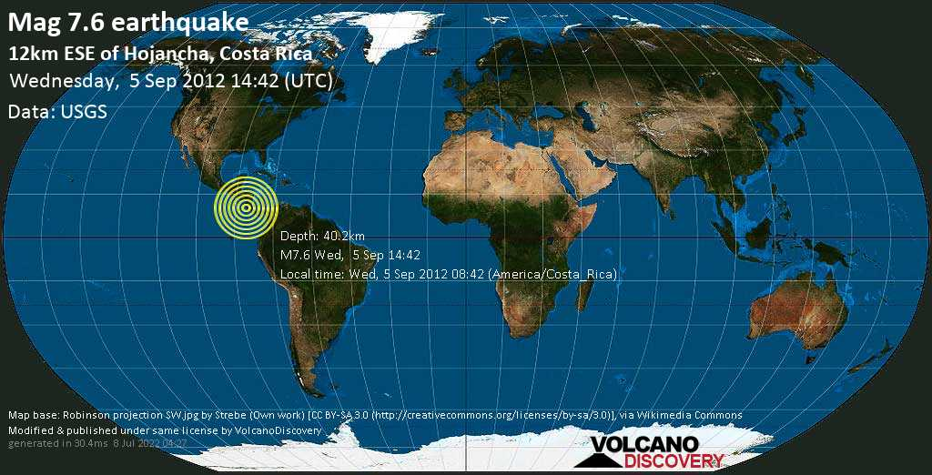 Major mag. 7.6 earthquake  - 12km ESE of Hojancha, Costa Rica on Wednesday, 5 September 2012