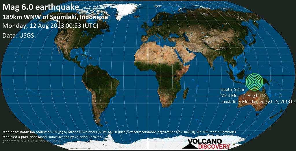 Strong mag. 6.0 earthquake  - 189km WNW of Saumlaki, Indonesia on Monday, 12 August 2013