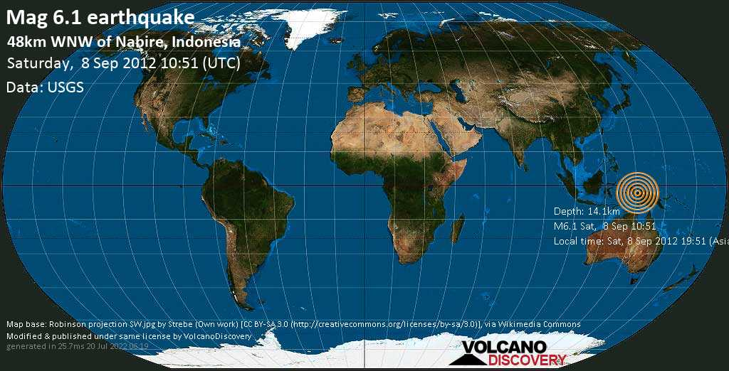 Strong mag. 6.1 earthquake  - 48km WNW of Nabire, Indonesia on Saturday, 8 September 2012