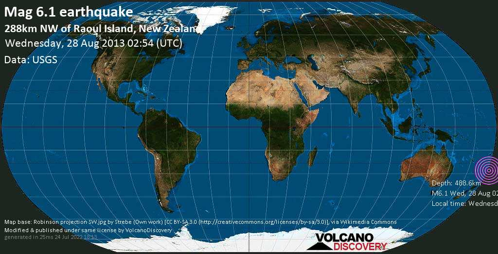 Strong mag. 6.1 earthquake  - 288km NW of Raoul Island, New Zealand on Wednesday, 28 August 2013