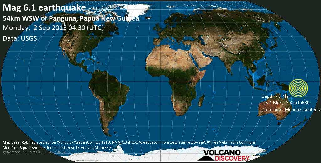 Strong mag. 6.1 earthquake  - 54km WSW of Panguna, Papua New Guinea on Monday, 2 September 2013