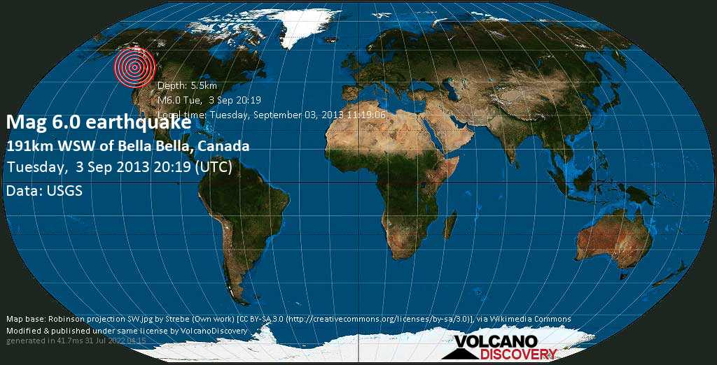 Strong mag. 6.0 earthquake  - 191km WSW of Bella Bella, Canada on Tuesday, 3 September 2013