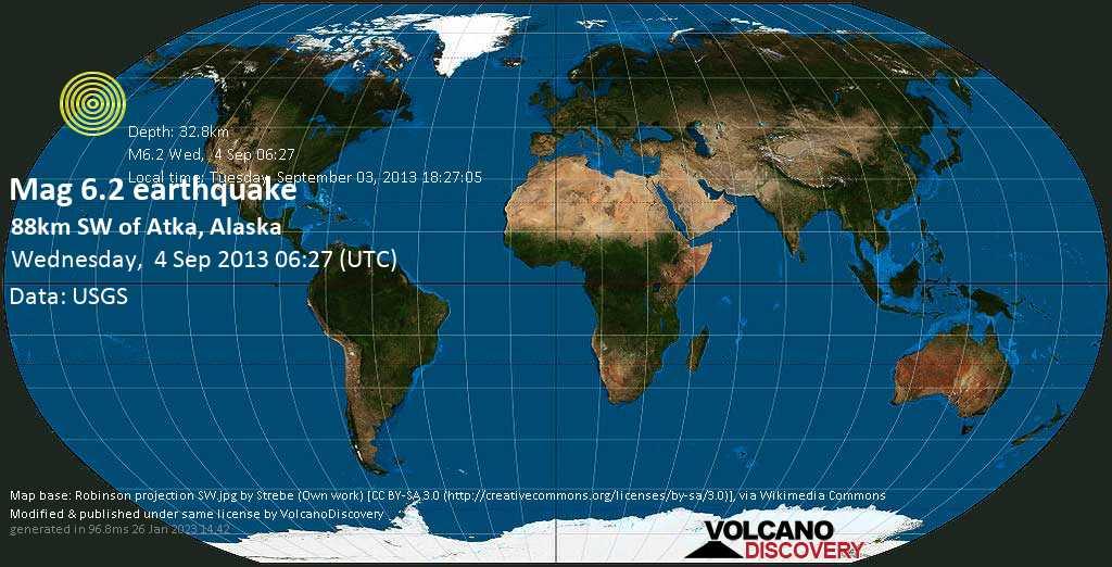 Strong mag. 6.2 earthquake  - 88km SW of Atka, Alaska on Wednesday, 4 September 2013