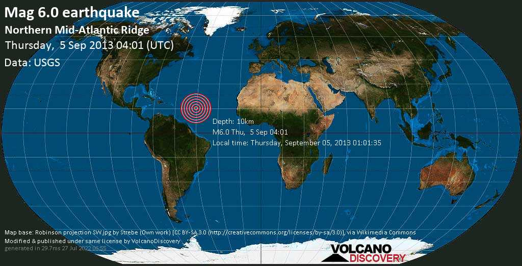 Strong mag. 6.0 earthquake  - Northern Mid-Atlantic Ridge on Thursday, 5 September 2013