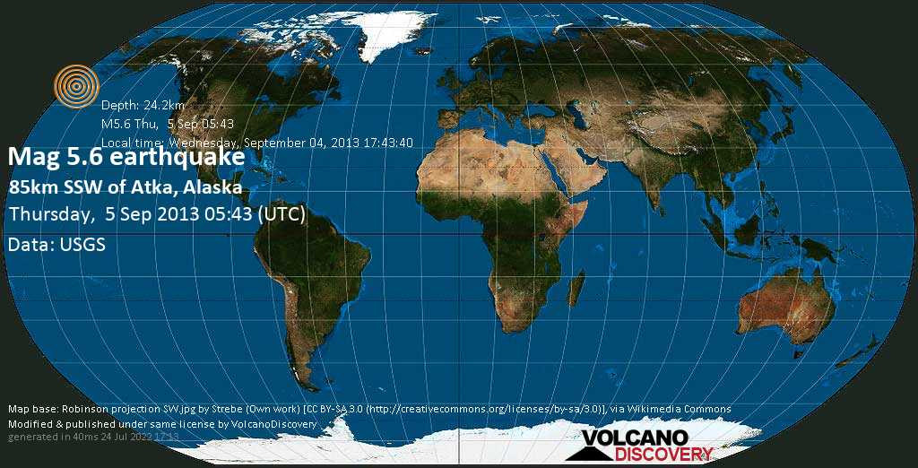 Moderate mag. 5.6 earthquake  - 85km SSW of Atka, Alaska on Thursday, 5 September 2013