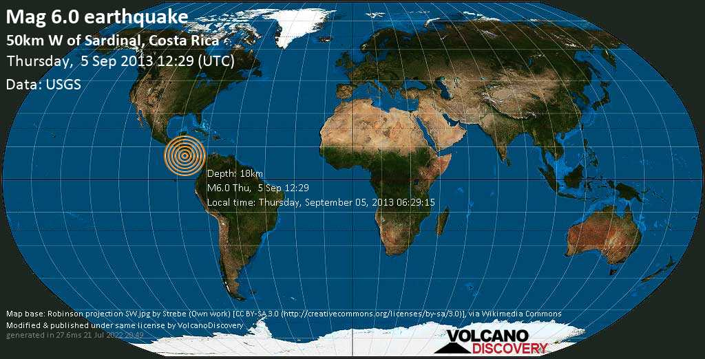 Strong mag. 6.0 earthquake  - 50km W of Sardinal, Costa Rica on Thursday, 5 September 2013