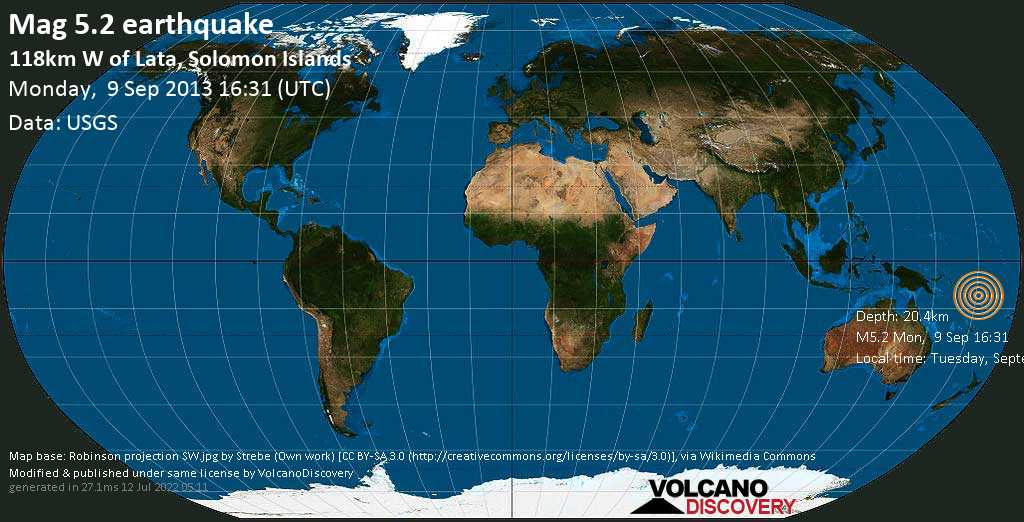 Moderate mag. 5.2 earthquake  - 118km W of Lata, Solomon Islands on Monday, 9 September 2013