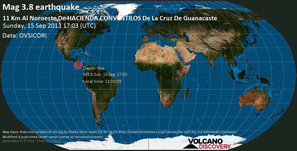 Minor mag. 3.8 earthquake  - 11 km al Noroeste de HACIENDA CONVENTILOS de La Cruz de Guanacaste on Sunday, 15 September 2013