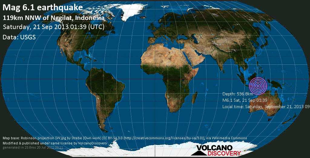 Strong mag. 6.1 earthquake  - 119km NNW of Nggilat, Indonesia on Saturday, 21 September 2013