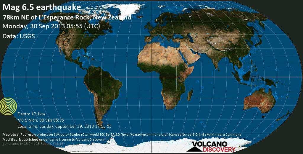 Strong mag. 6.5 earthquake  - 78km NE of L\'Esperance Rock, New Zealand on Monday, 30 September 2013