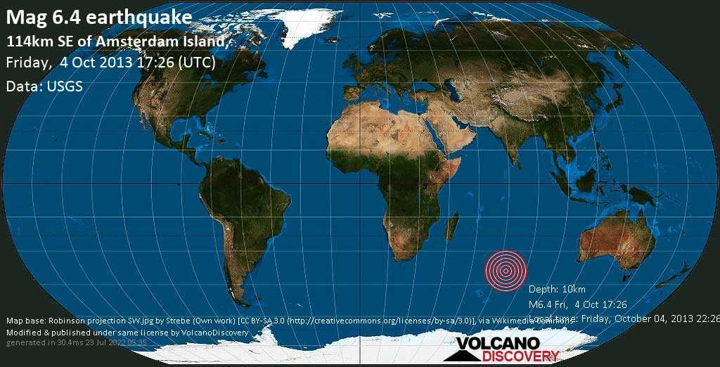 Strong mag. 6.4 earthquake  - 114km SE of Amsterdam Island, on Friday, 4 October 2013