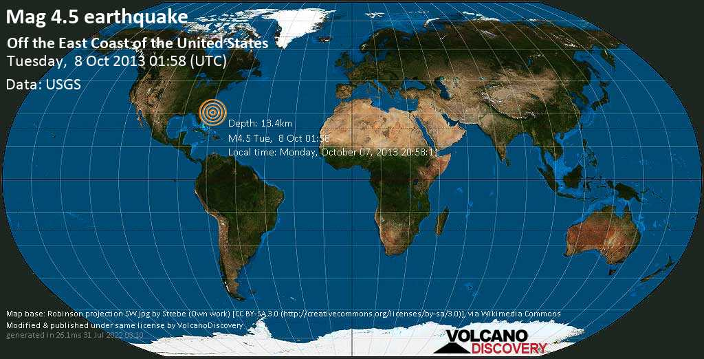 Light mag. 4.5 earthquake  - Off the east coast of the United States on Tuesday, 8 October 2013