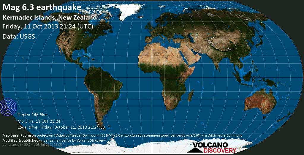 Strong mag. 6.3 earthquake  - Kermadec Islands, New Zealand on Friday, 11 October 2013