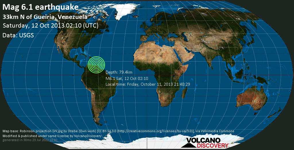 Strong mag. 6.1 earthquake  - 33km N of Gueiria, Venezuela on Saturday, 12 October 2013