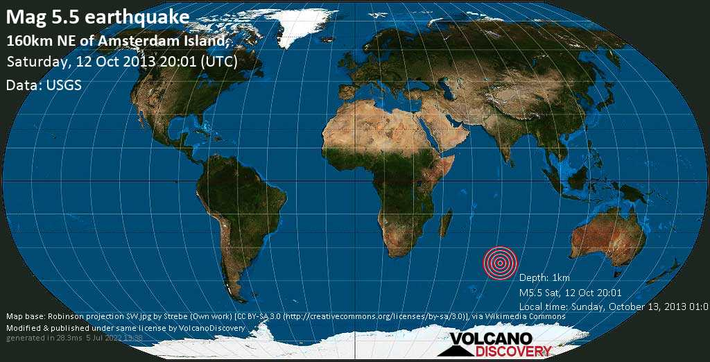Moderate mag. 5.5 earthquake  - 160km NE of Amsterdam Island, on Saturday, 12 October 2013