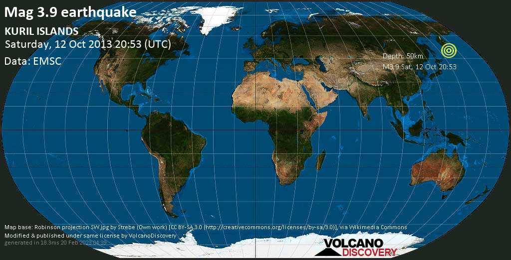 Minor mag. 3.9 earthquake  - KURIL ISLANDS on Saturday, 12 October 2013