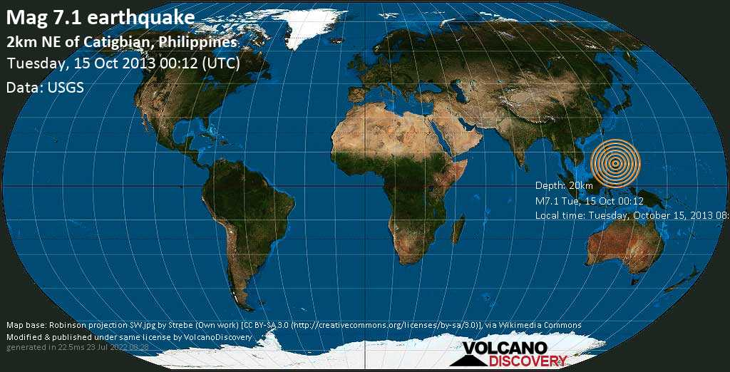 Major mag. 7.1 earthquake  - 2km NE of Catigbian, Philippines on Tuesday, 15 October 2013
