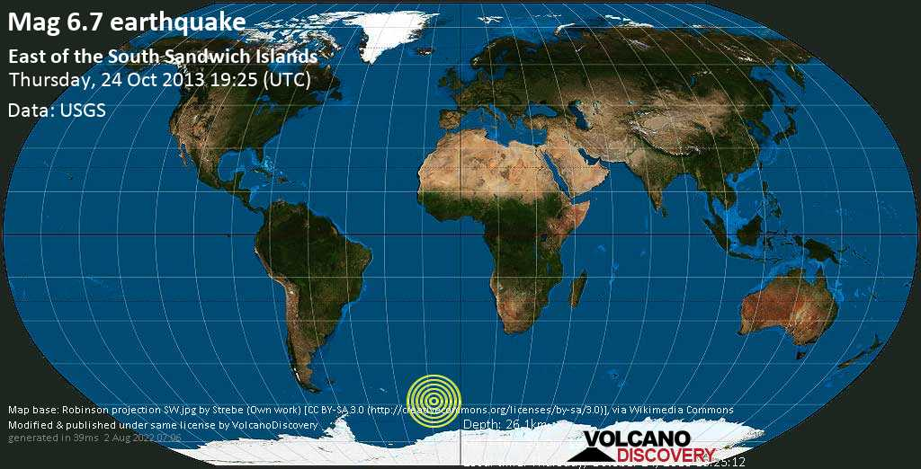 Strong mag. 6.7 earthquake  - East of the South Sandwich Islands on Thursday, 24 October 2013