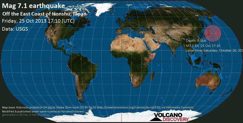 Major mag. 7.1 earthquake  - Off the east coast of Honshu, Japan on Friday, 25 October 2013