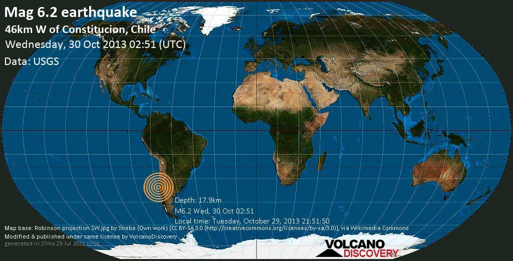 Strong mag. 6.2 earthquake  - 46km W of Constitucion, Chile on Wednesday, 30 October 2013