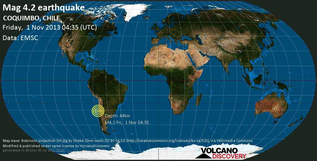 Light mag. 4.2 earthquake  - COQUIMBO, CHILE on Friday, 1 November 2013