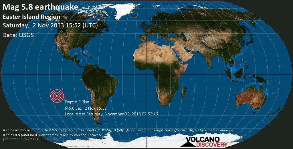 Moderate mag. 5.8 earthquake  - Easter Island region on Saturday, 2 November 2013