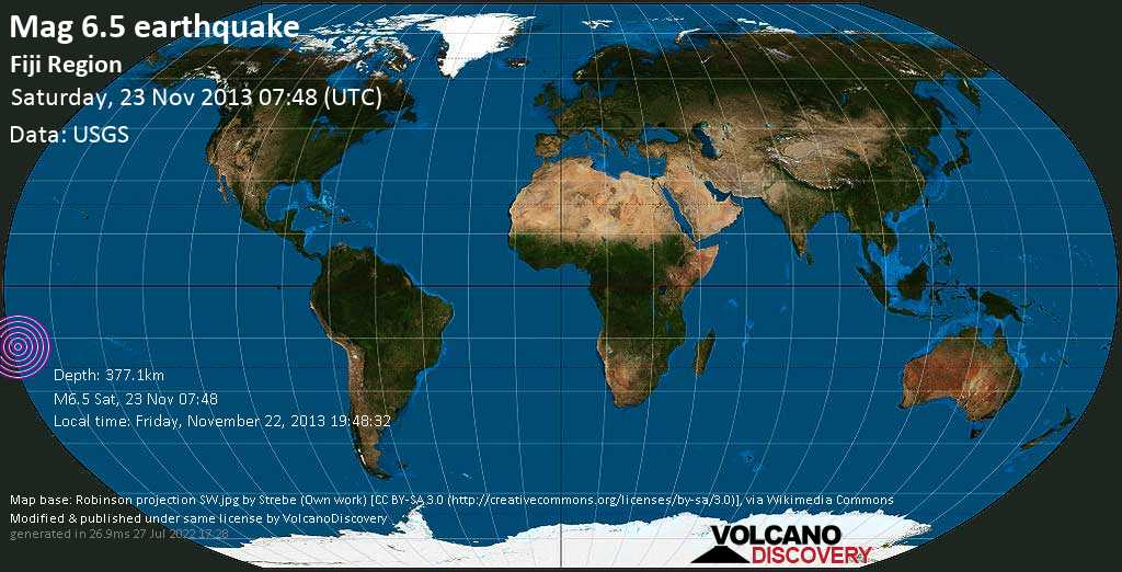 Strong mag. 6.5 earthquake  - Fiji region on Saturday, 23 November 2013
