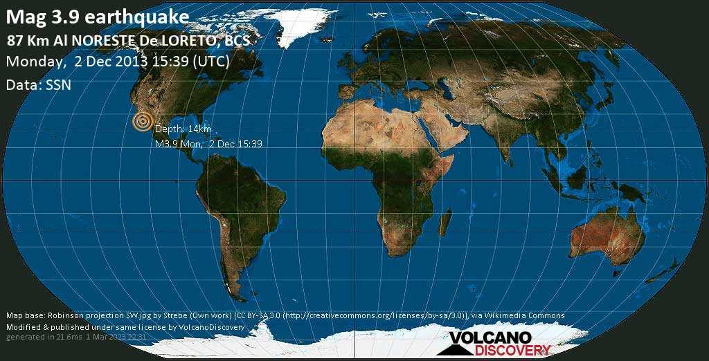 Débil terremoto magnitud 3.9 - 87 km al NORESTE de  LORETO, BCS lunes, 02 dic. 2013
