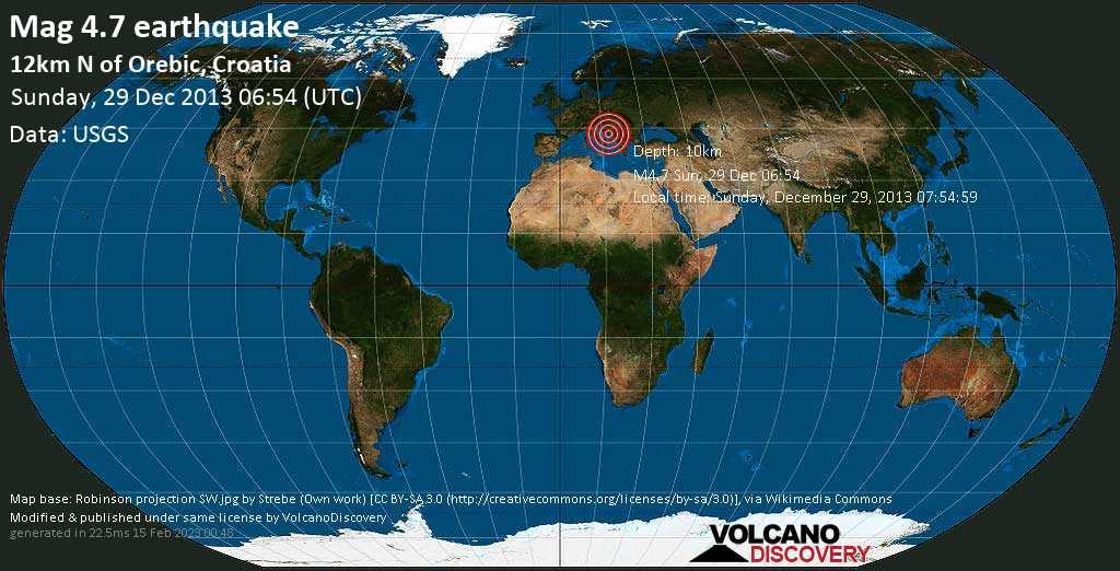 Light mag. 4.7 earthquake  - 12km N of Orebic, Croatia on Sunday, 29 December 2013