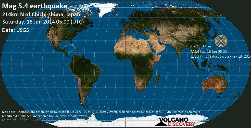 Moderate mag. 5.4 earthquake  - 214km N of Chichi-shima, Japan on Saturday, 18 January 2014