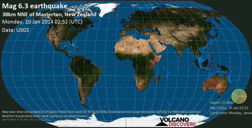 Strong mag. 6.3 earthquake  - 38km NNE of Masterton, New Zealand on Monday, 20 January 2014