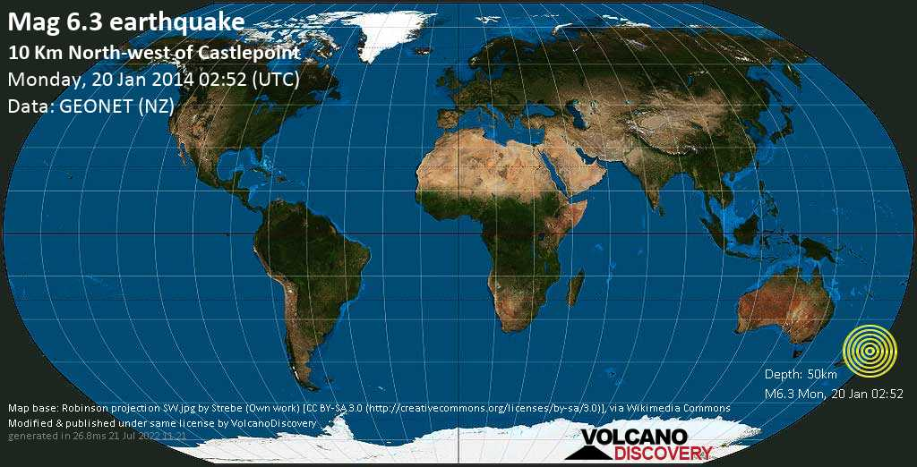 Strong mag. 6.3 earthquake  - 10 km north-west of Castlepoint on Monday, 20 January 2014
