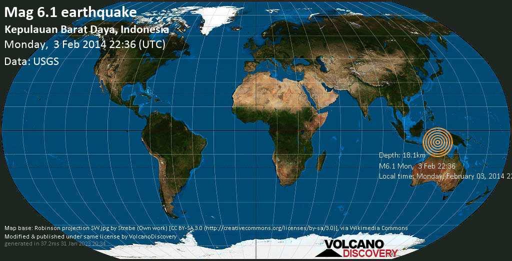 Strong mag. 6.1 earthquake  - Kepulauan Barat Daya, Indonesia on Monday, 3 February 2014