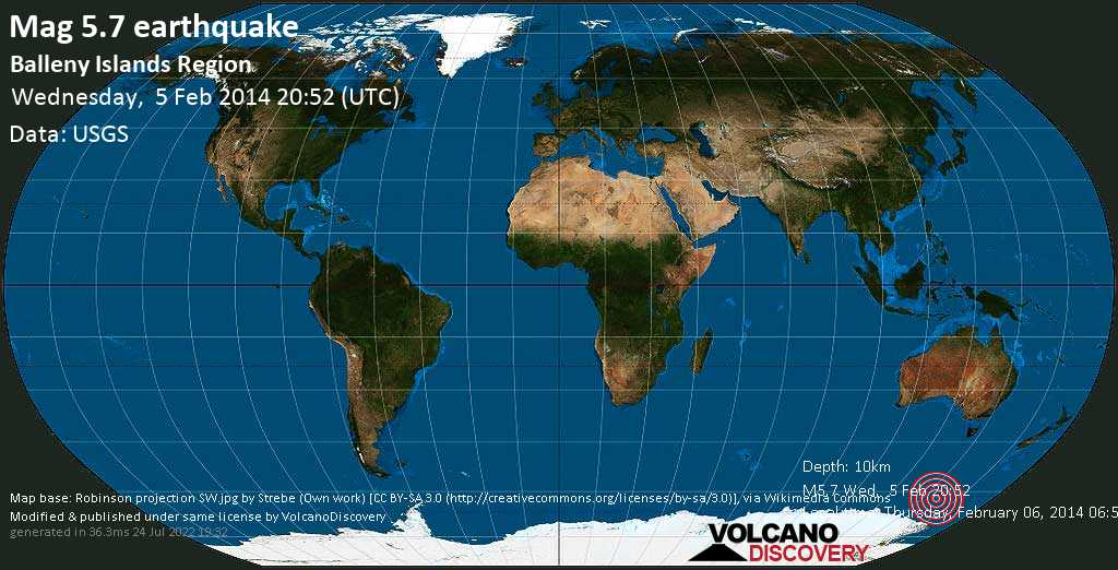 Moderate mag. 5.7 earthquake  - Balleny Islands region on Wednesday, 5 February 2014