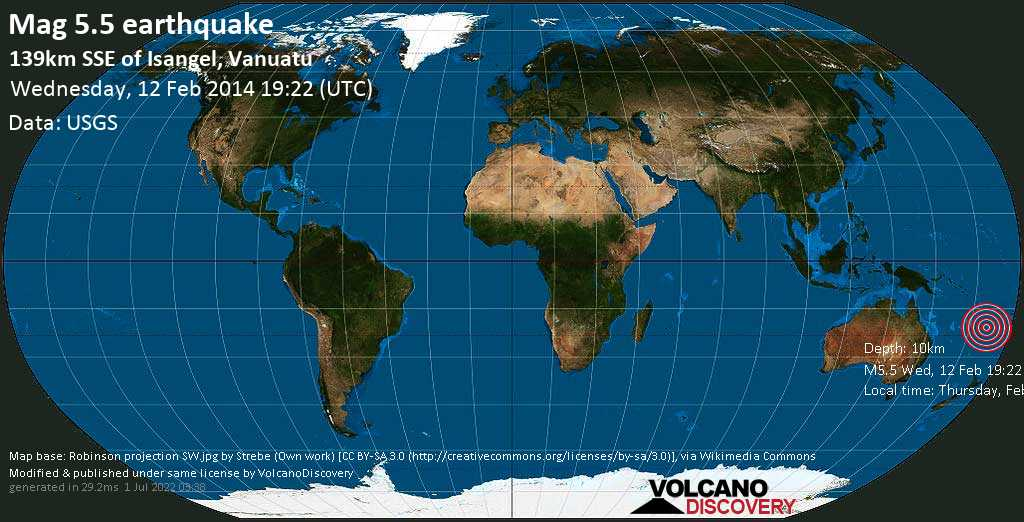 Moderate mag. 5.5 earthquake  - 139km SSE of Isangel, Vanuatu on Wednesday, 12 February 2014