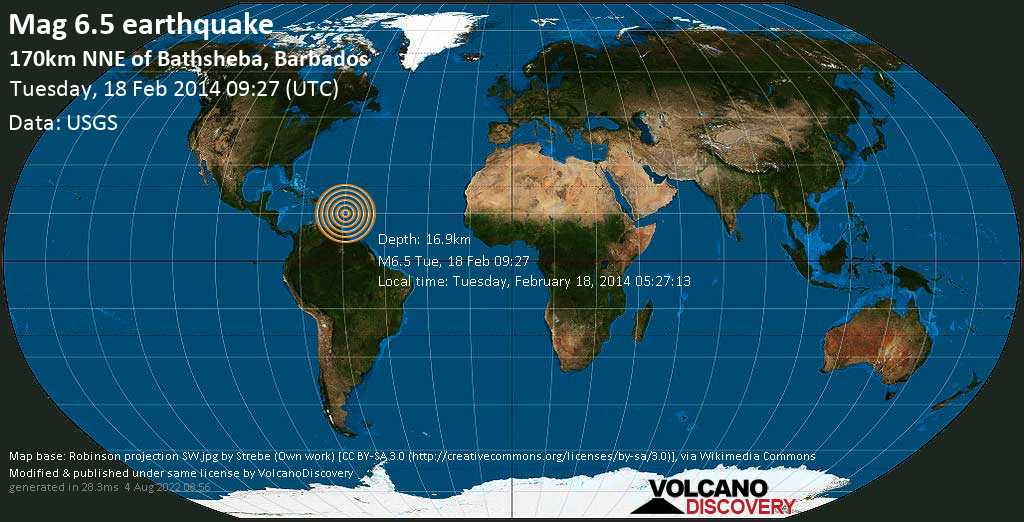 Strong mag. 6.5 earthquake  - 170km NNE of Bathsheba, Barbados on Tuesday, 18 February 2014