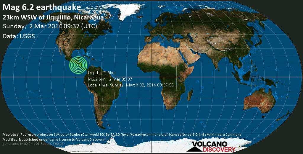 Starkes Erdbeben der Stärke 6.2 - 23km WSW of Jiquilillo, Nicaragua am Sonntag, 02. Mär. 2014