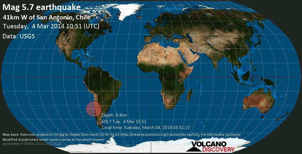 Moderate mag. 5.7 earthquake  - 41km W of San Antonio, Chile on Tuesday, 4 March 2014