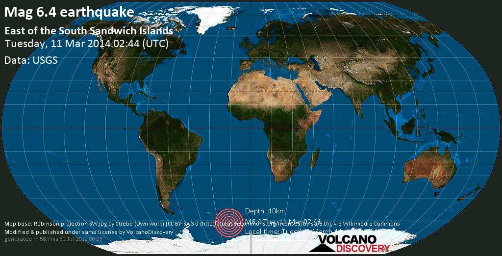 Strong mag. 6.4 earthquake  - East of the South Sandwich Islands on Tuesday, 11 March 2014