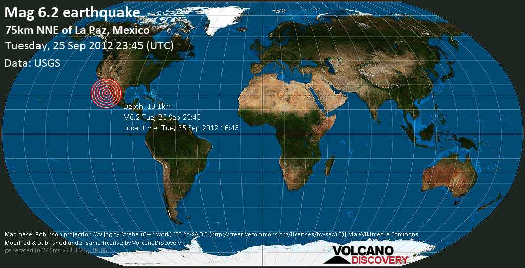 Strong mag. 6.2 earthquake  - 75km NNE of La Paz, Mexico on Tuesday, 25 September 2012