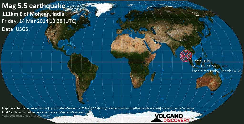 Moderate mag. 5.5 earthquake  - 111km E of Mohean, India on Friday, 14 March 2014
