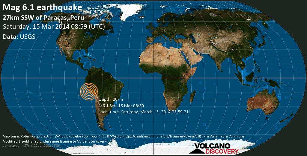 Strong mag. 6.1 earthquake  - 27km SSW of Paracas, Peru on Saturday, 15 March 2014