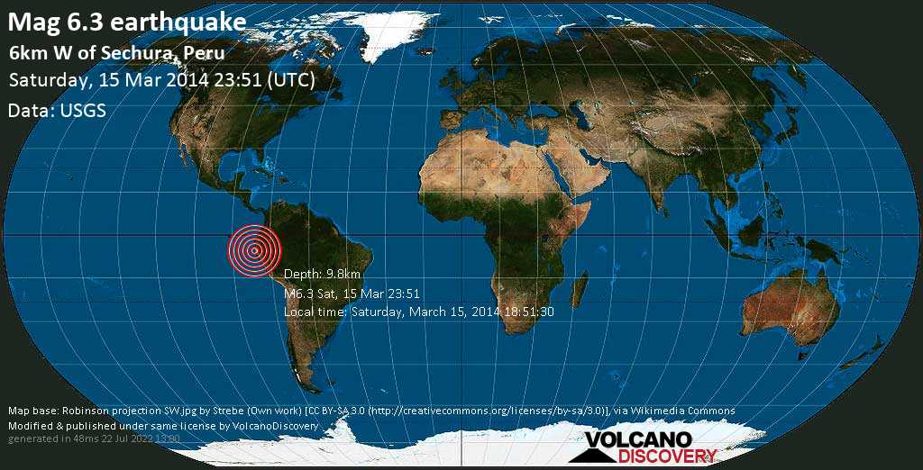 Strong mag. 6.3 earthquake  - 6km W of Sechura, Peru on Saturday, 15 March 2014