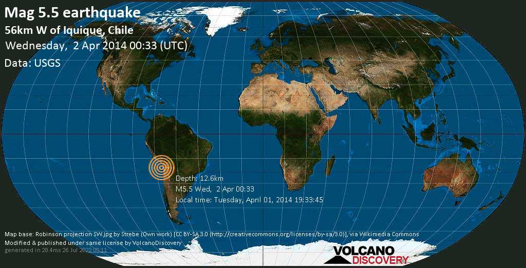 Moderate mag. 5.5 earthquake  - 56km W of Iquique, Chile on Wednesday, 2 April 2014