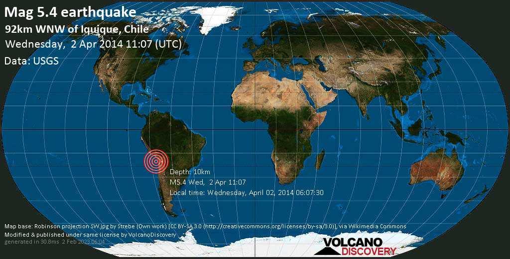 Moderates Erdbeben der Stärke 5.4 - 92km WNW of Iquique, Chile am Mittwoch, 02. Apr. 2014