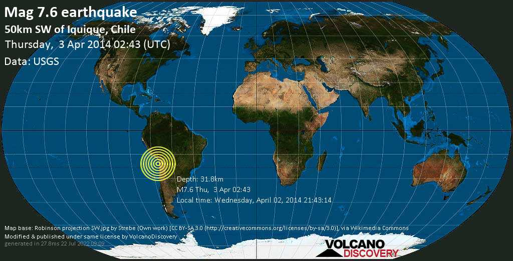 Major mag. 7.6 earthquake  - 50km SW of Iquique, Chile on Thursday, 3 April 2014