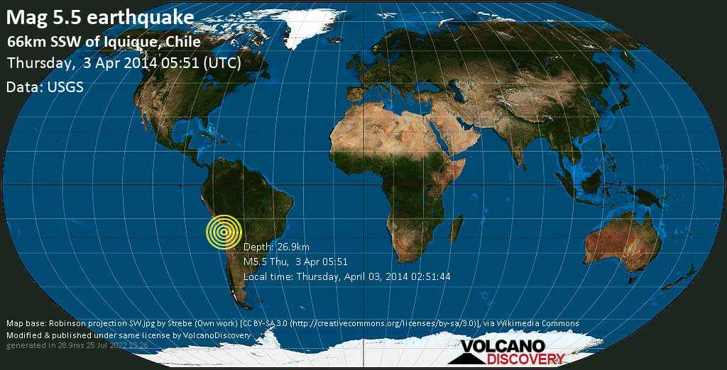 Moderate mag. 5.5 earthquake  - 66km SSW of Iquique, Chile on Thursday, 3 April 2014